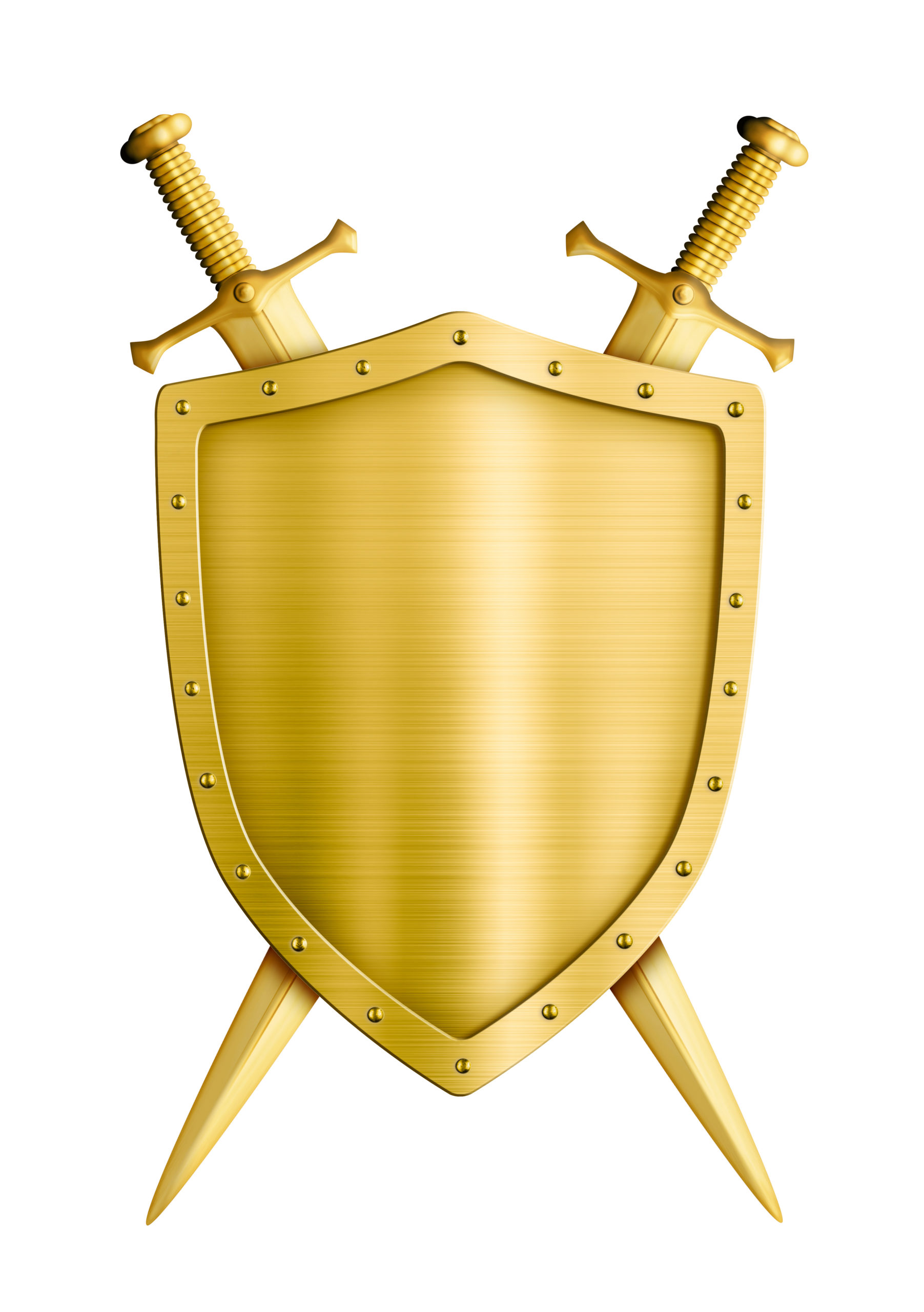 gold coat of arms medieval knight shield and swords isolated